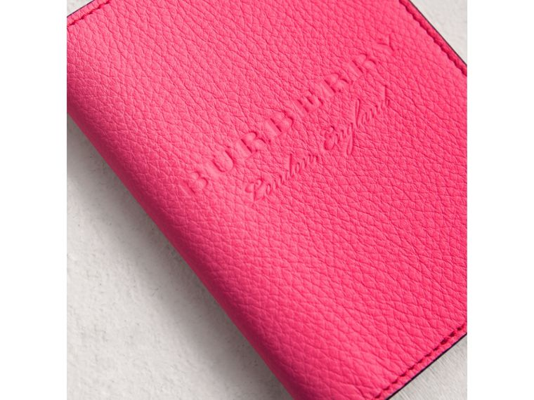 Embossed Leather Passport Holder in Bright Pink | Burberry United States - cell image 1