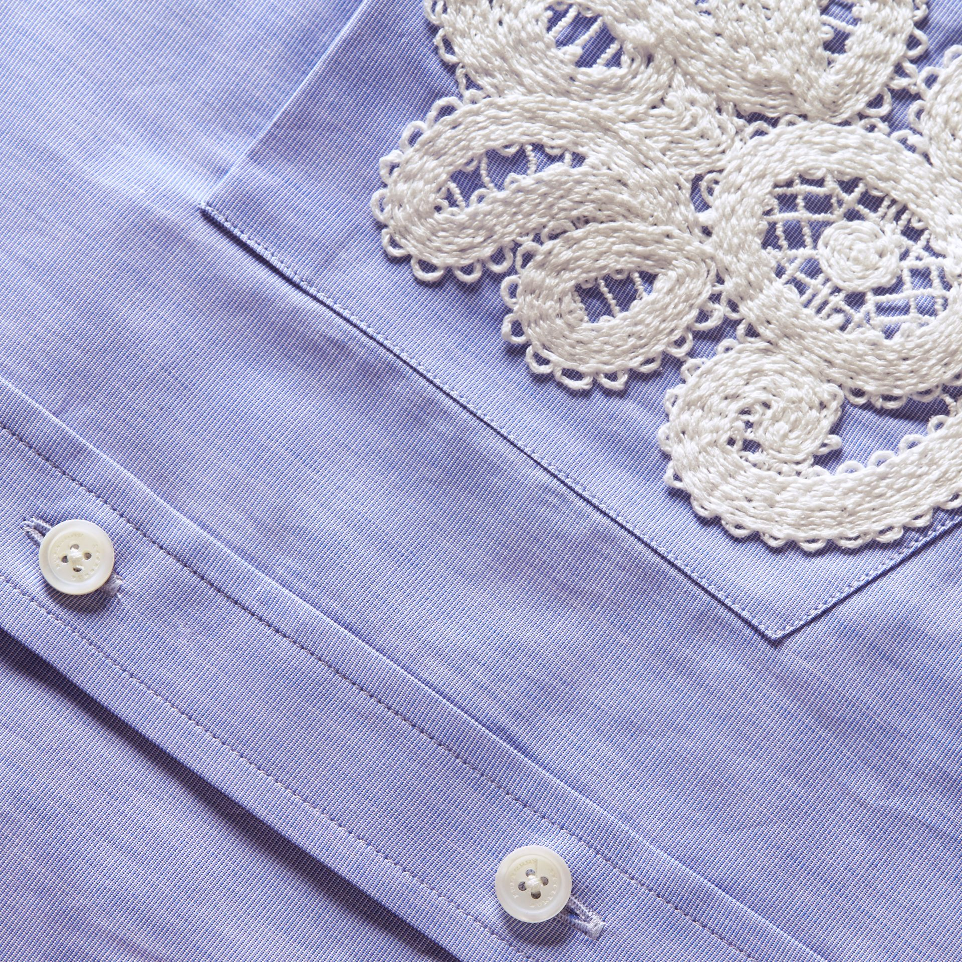 Lace Appliqué Cotton Shirt - gallery image 2