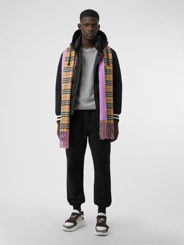 Colour Block Vintage Check Cashmere Scarf in Bright Lilac | Burberry Canada - cell image 3
