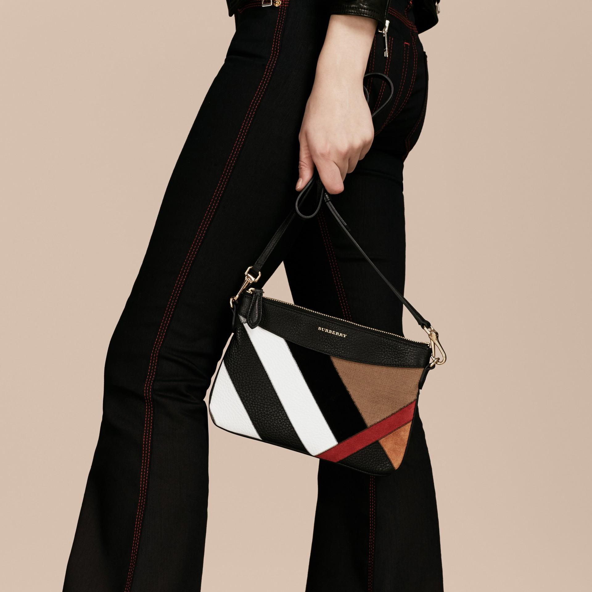 Noir Clutch façon patchwork en cuir, cuir velours et jute de coton à motif check - photo de la galerie 3