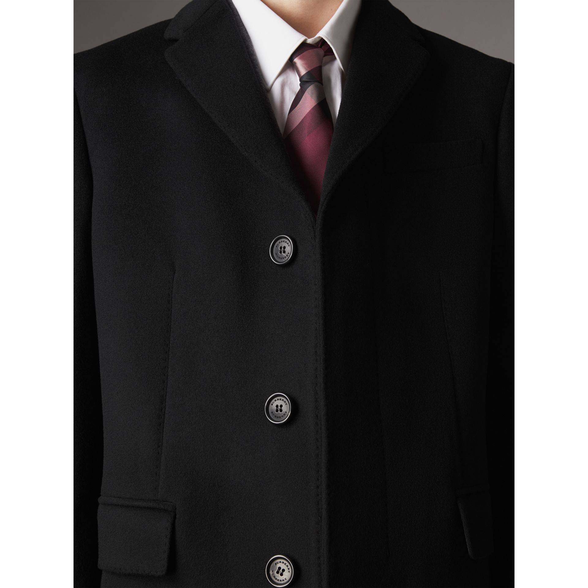 Wool Cashmere Tailored Coat in Black - Men | Burberry Canada - gallery image 4