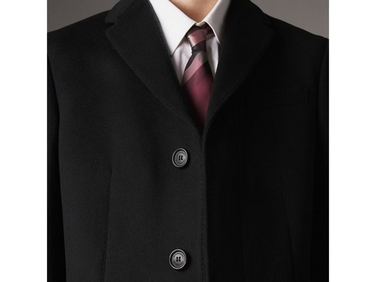 Wool Cashmere Tailored Coat in Black - Men | Burberry United Kingdom - cell image 4