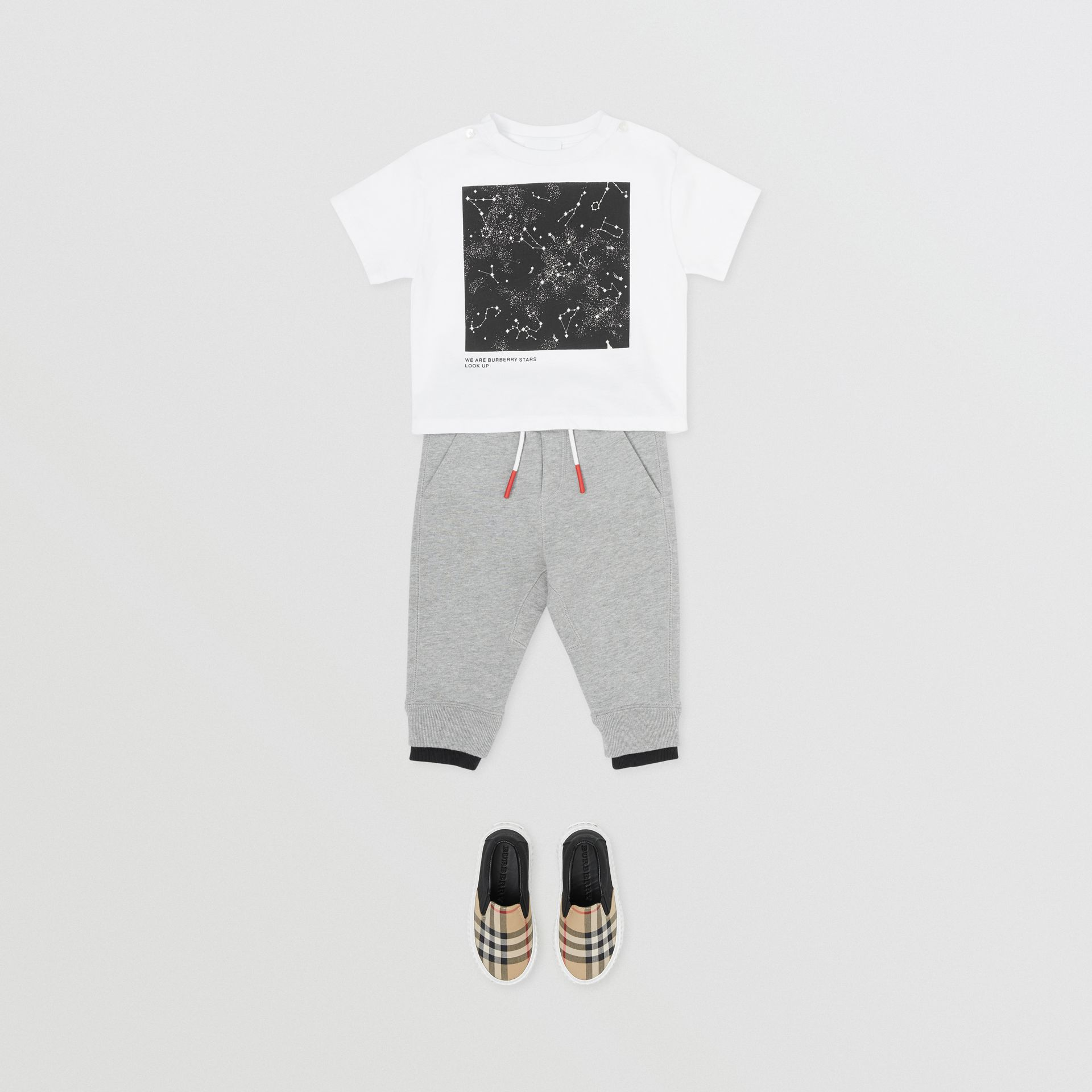Star Print Cotton T-shirt in White - Children | Burberry United States - gallery image 3