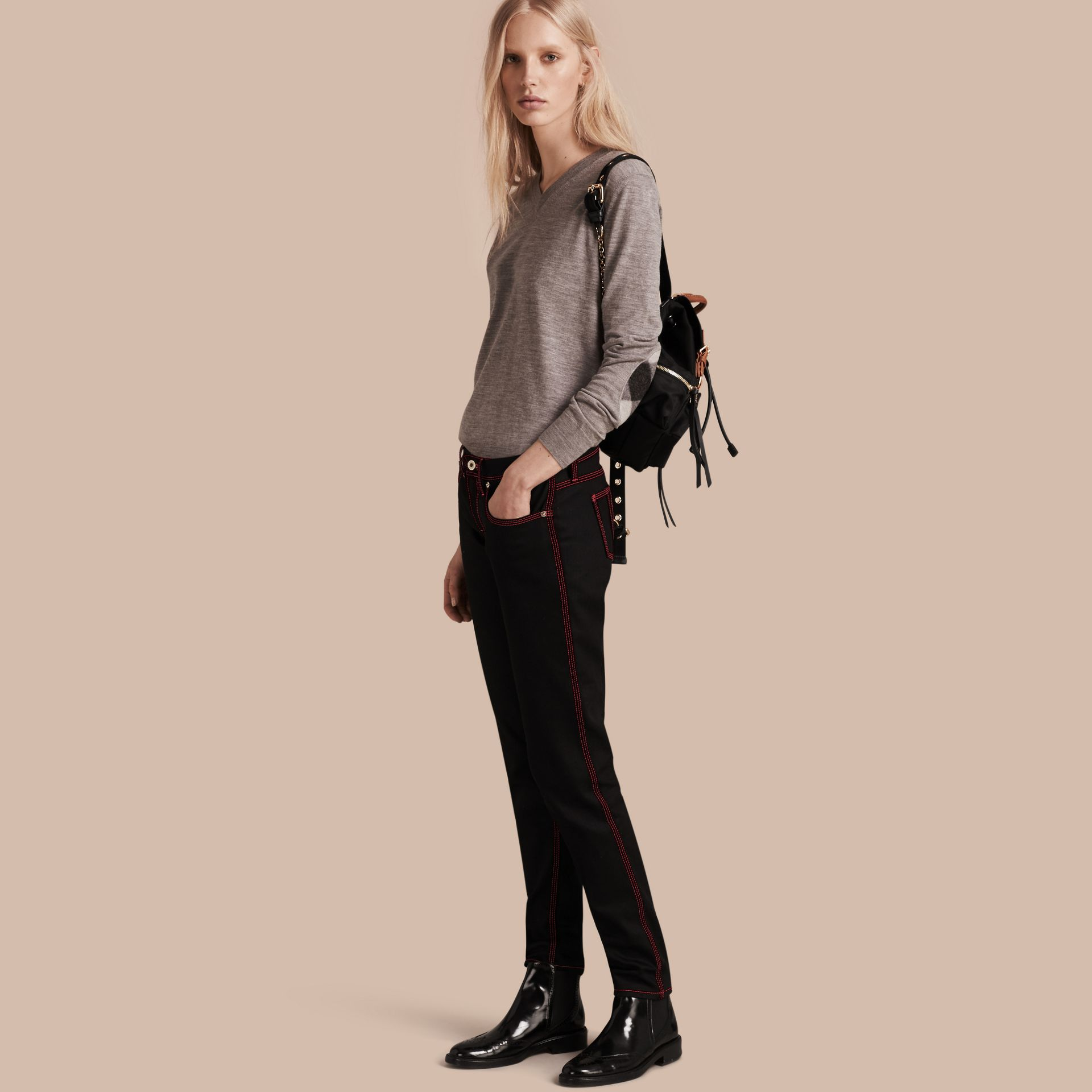 Black Skinny Fit Cropped Jeans with Topstitch Detail - gallery image 1