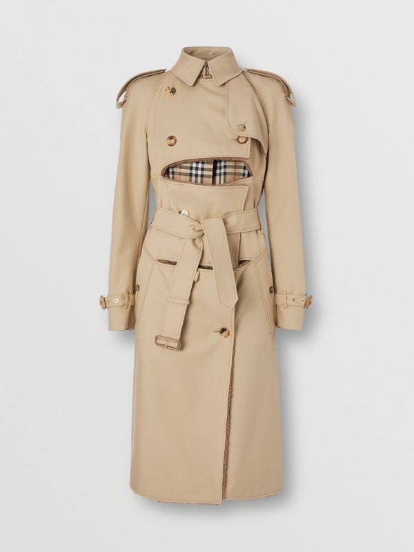 Deconstructed Cotton and Shearling Trench Coat in Honey - Women | Burberry - cell image 3