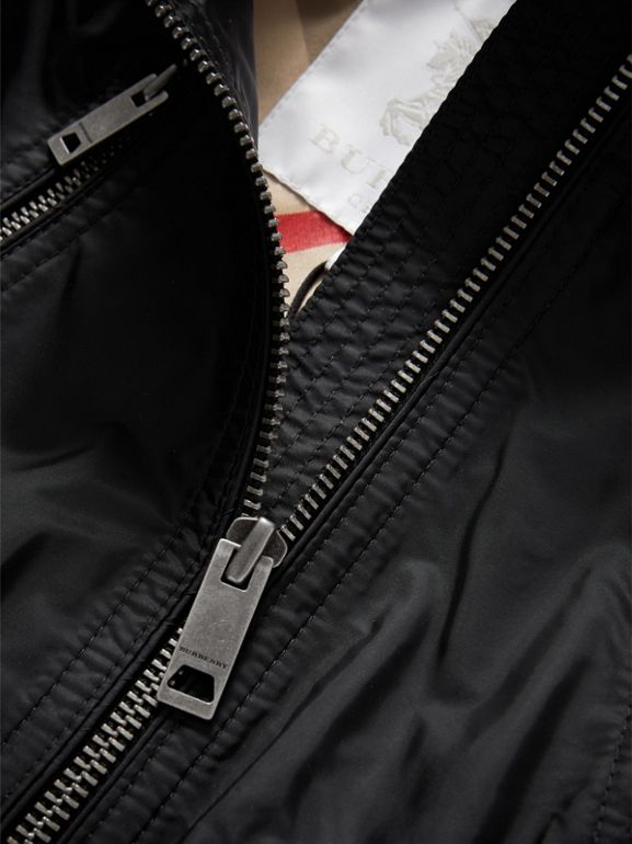 Hooded Packaway Technical Jacket in Black | Burberry - cell image 1