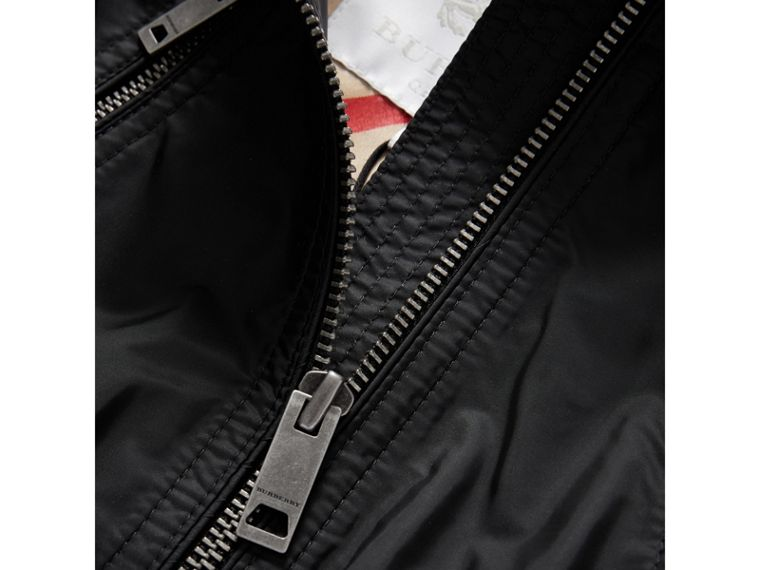 Hooded Packaway Technical Jacket in Black - Girl | Burberry - cell image 1