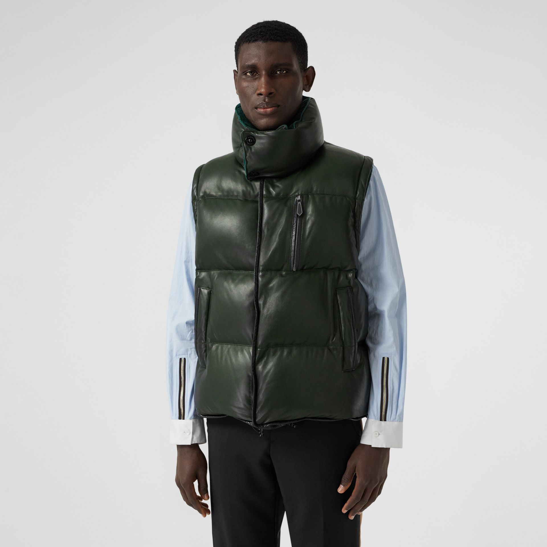 Velvet Trim Down-filled Lambskin Puffer Gilet in Dark Pine Green - Men | Burberry - gallery image 6