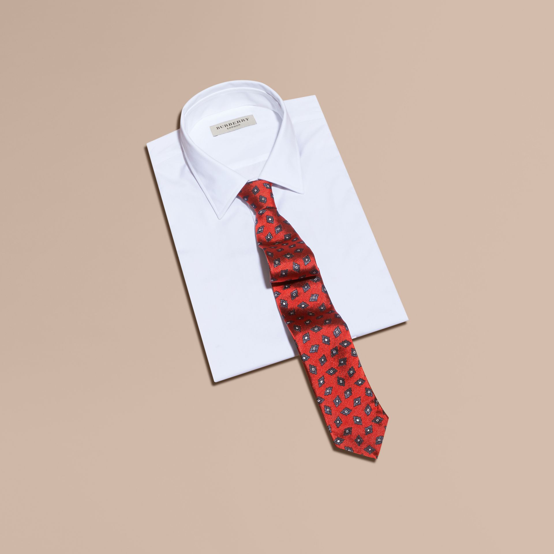 Military red Modern Cut Geometric Print Silk Twill Tie - gallery image 3