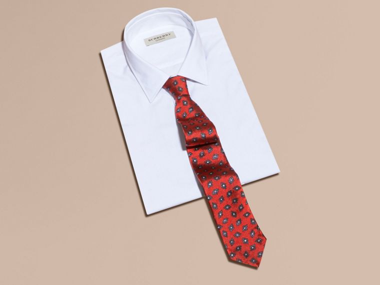 Military red Modern Cut Geometric Print Silk Twill Tie - cell image 2