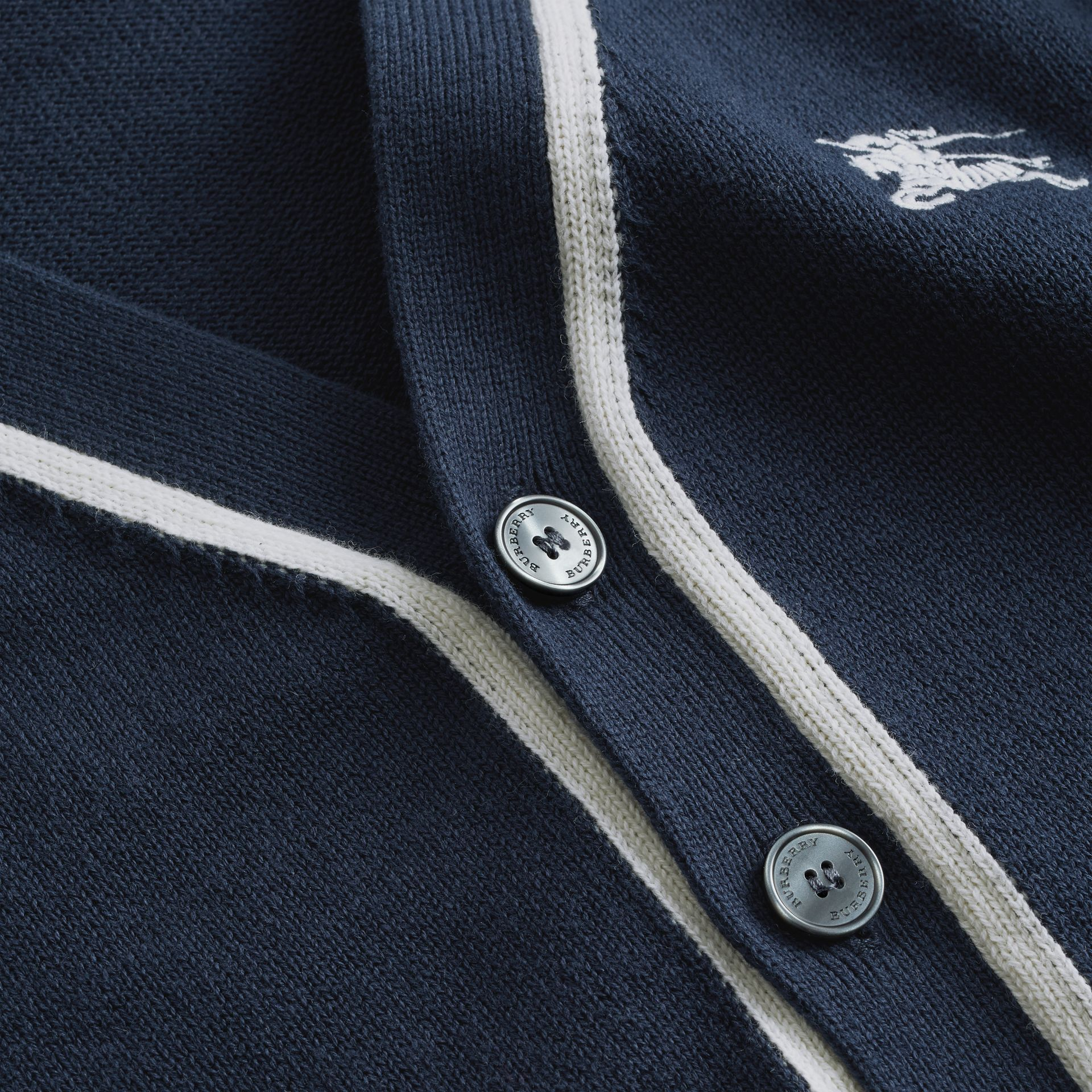 Two-tone Cotton Knit Cardigan in Navy | Burberry - gallery image 1