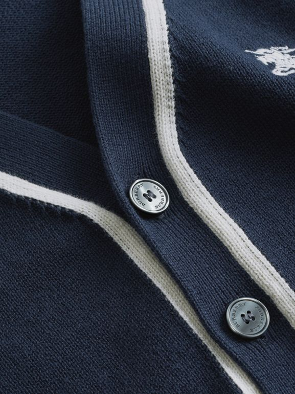 Two-tone Cotton Knit Cardigan in Navy | Burberry - cell image 1