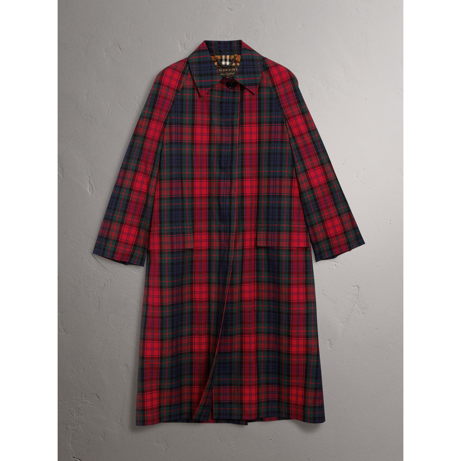 Tartan Cotton Gabardine Car Coat in Bright Red - Women | Burberry Canada - gallery image 3