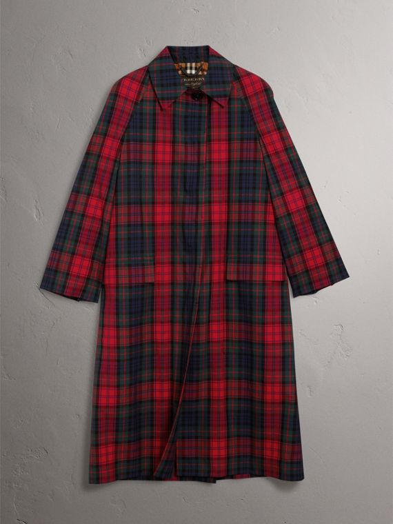 Tartan Cotton Gabardine Car Coat in Bright Red - Women | Burberry Singapore - cell image 3