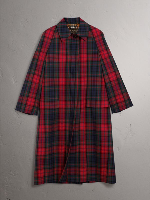 Tartan Cotton Gabardine Car Coat in Bright Red - Women | Burberry - cell image 3