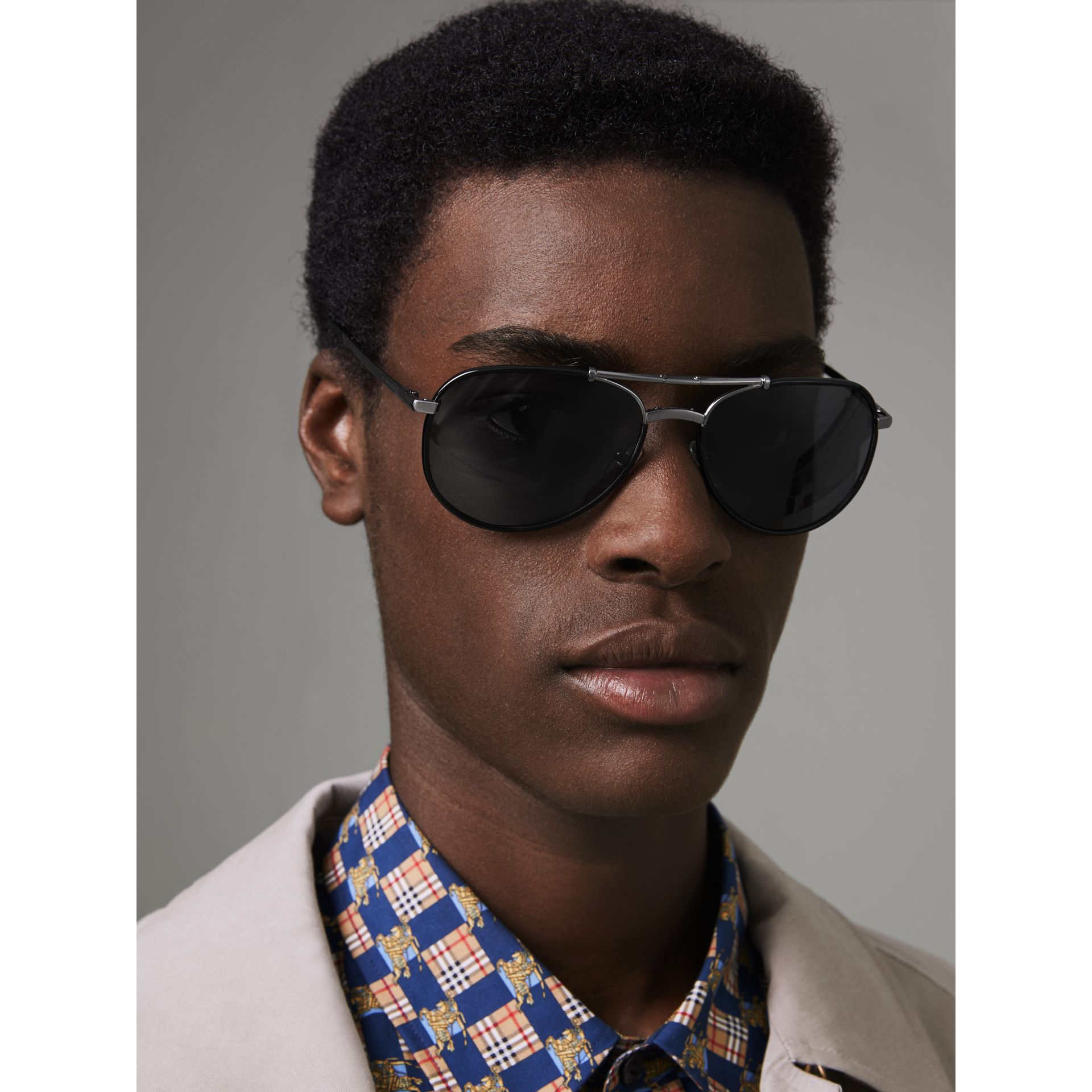 Folding Pilot Sunglasses in Black - Men | Burberry Australia - gallery image 2