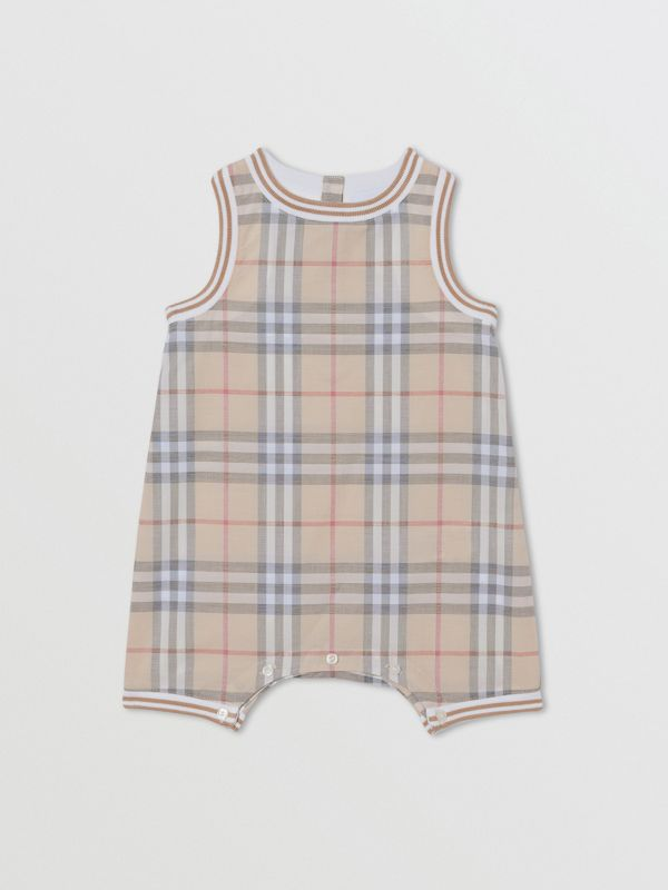 Vintage Check Cotton Three-piece Baby Gift Set in Pale Stone - Children | Burberry Hong Kong S.A.R - cell image 2