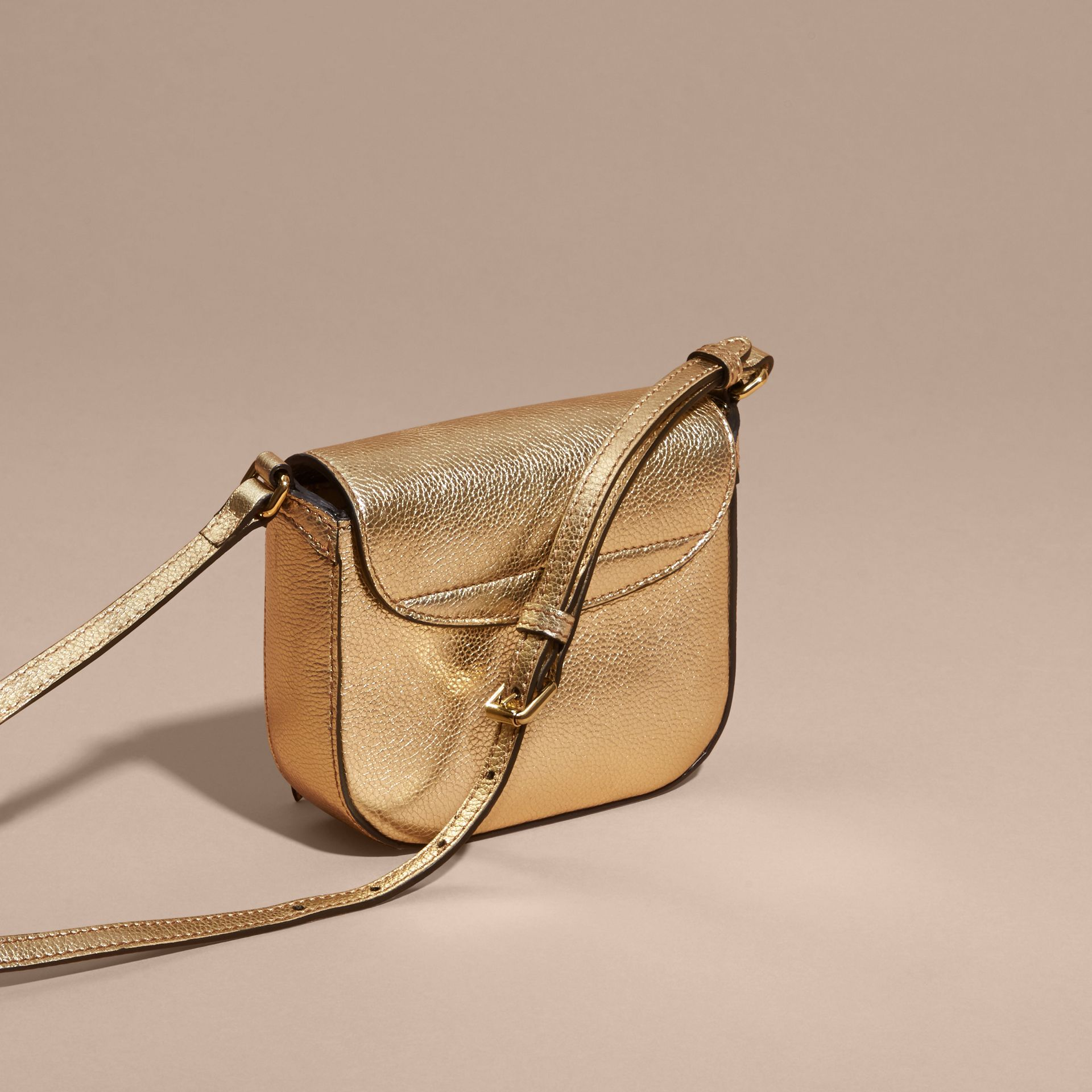 Gold Metallic Leather Crossbody Bag - gallery image 3