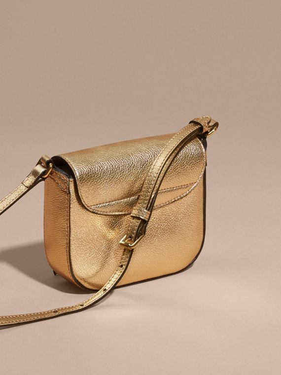 Gold Metallic Leather Crossbody Bag - cell image 2