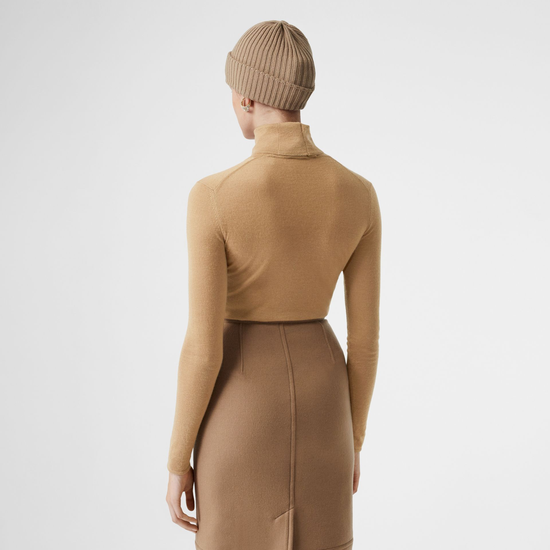 Embroidered Logo Cashmere Silk Roll-neck Sweater in Archive Beige - Women | Burberry Canada - gallery image 2
