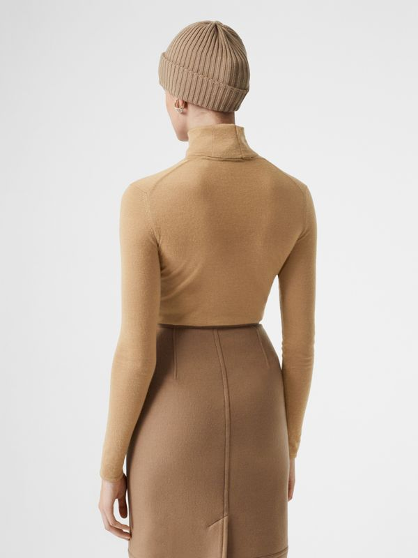 Embroidered Logo Cashmere Silk Roll-neck Sweater in Archive Beige - Women | Burberry - cell image 2