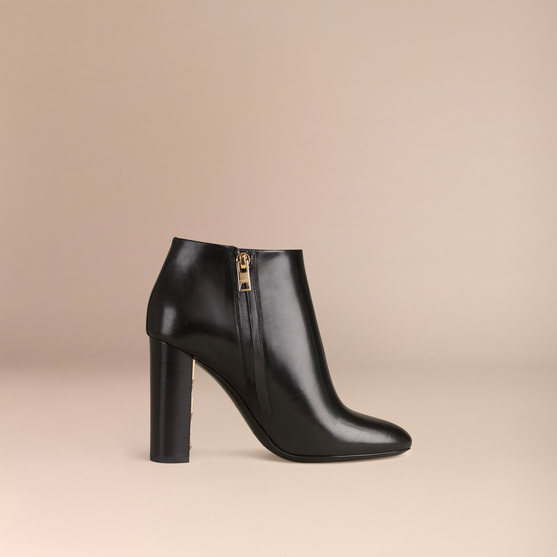 Black Check Detail Leather Ankle Boots - gallery image 3