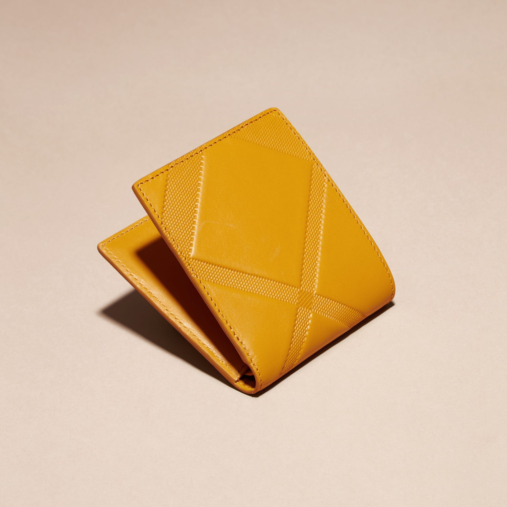 Amber yellow Check-embossed Leather Folding Wallet Amber Yellow - gallery image 4
