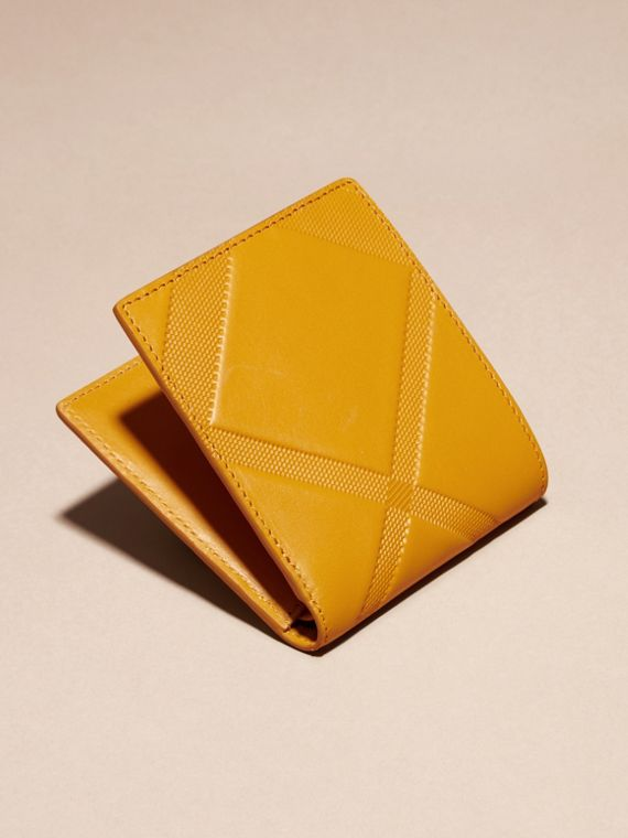 Amber yellow Check-embossed Leather Folding Wallet Amber Yellow - cell image 3