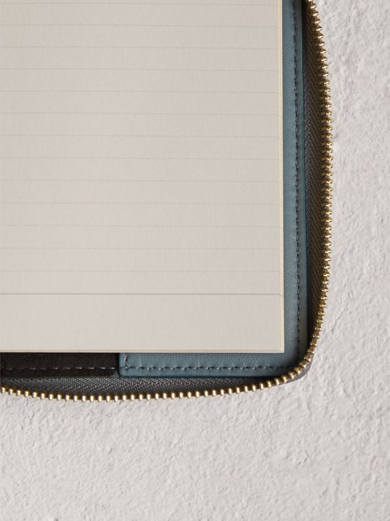 Embossed Grainy Leather Ziparound A6 Notebook Case in Dusty Teal Blue | Burberry United States - cell image 3