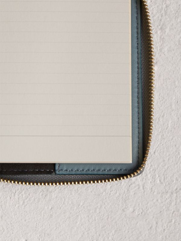 Embossed Grainy Leather Ziparound A6 Notebook Case in Dusty Teal Blue | Burberry United Kingdom - cell image 3