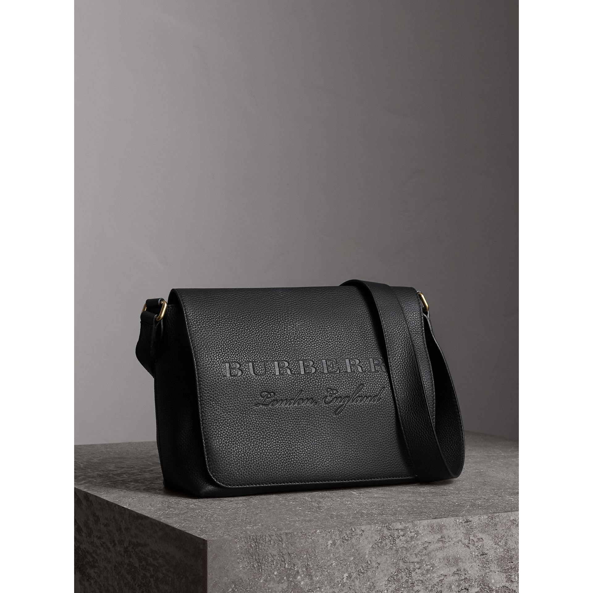 Medium Embossed Leather Messenger Bag in Black | Burberry - gallery image 7