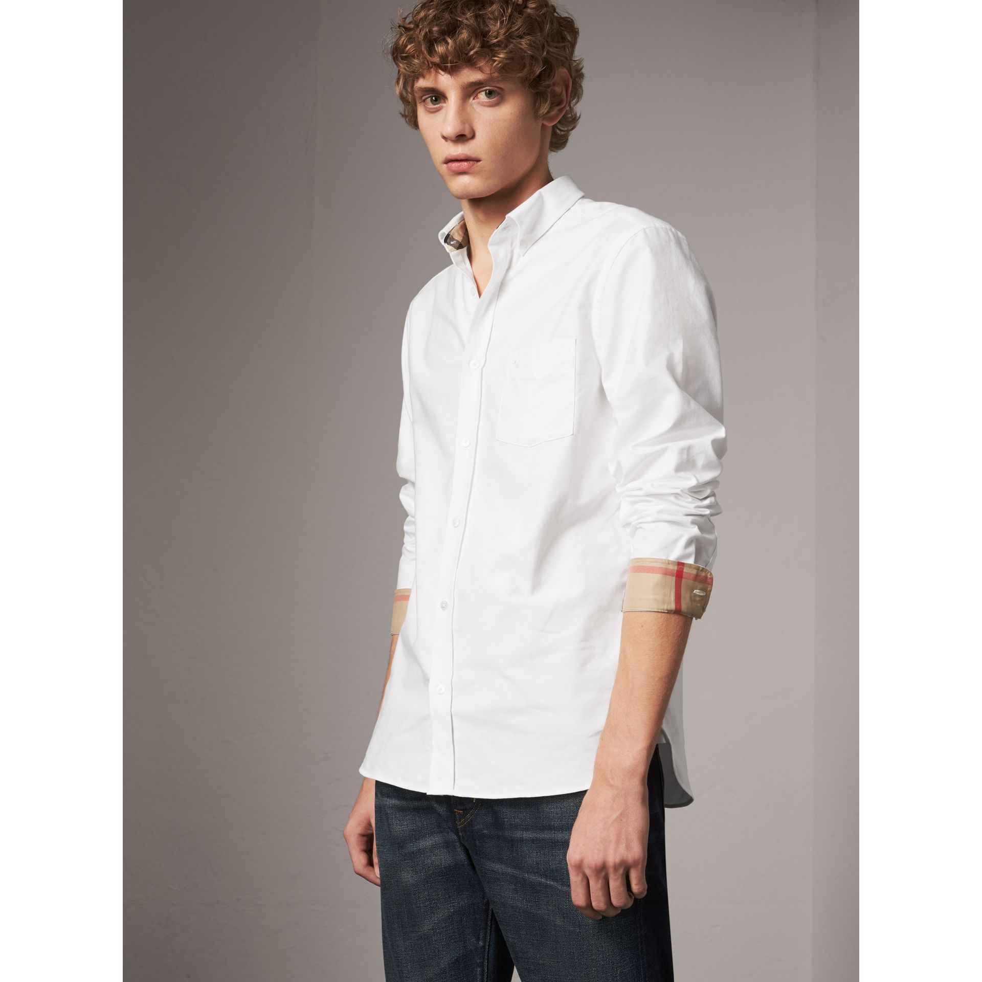 Check Detail Cotton Oxford Shirt in White - Men | Burberry Canada - gallery image 1
