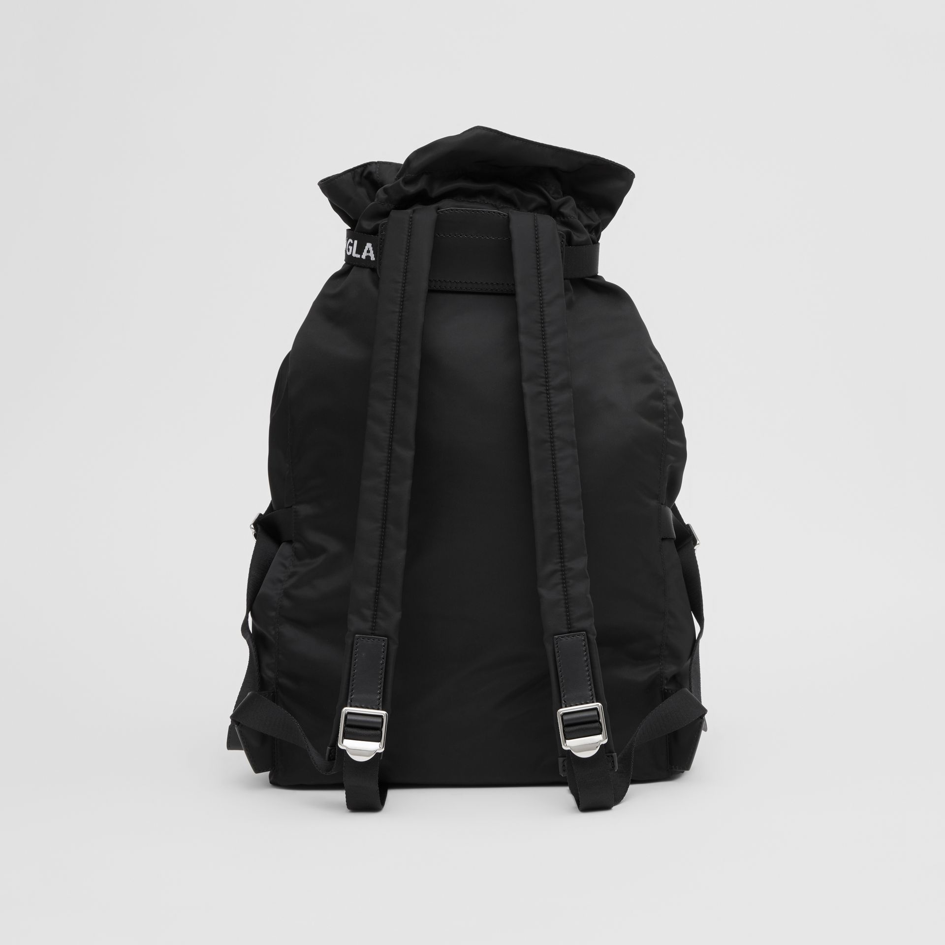 Logo Detail Nylon Drawcord Backpack in Black - Men | Burberry - gallery image 7