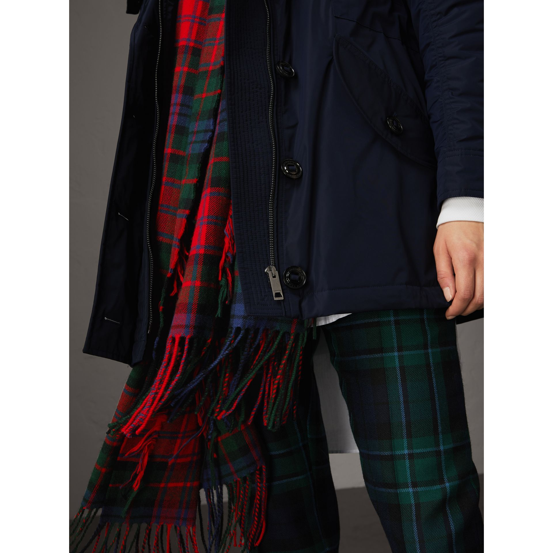 Technical Taffeta Hooded Parka in Navy - Women | Burberry Australia - gallery image 2