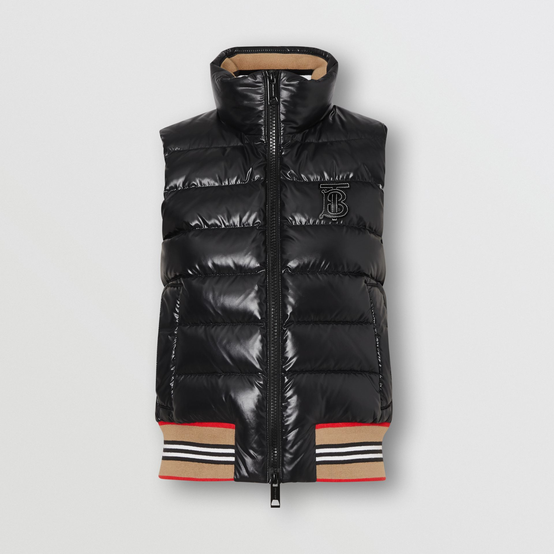 Icon Stripe Detail Down-filled Puffer Gilet in Black - Women | Burberry - gallery image 3