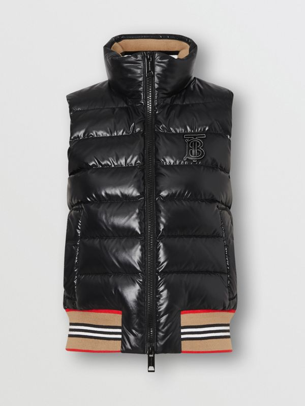 Icon Stripe Detail Down-filled Puffer Gilet in Black - Women | Burberry - cell image 3