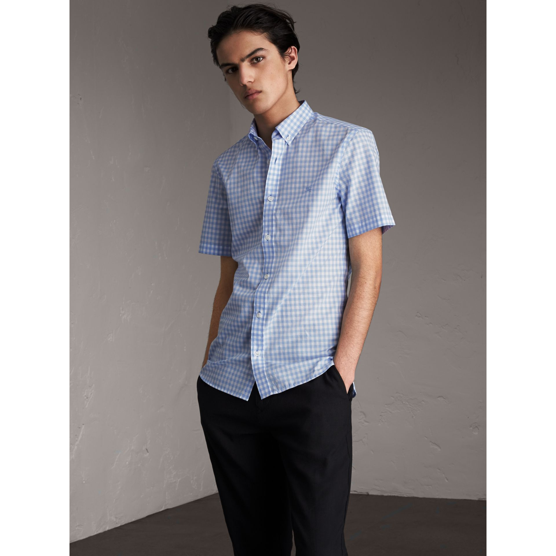 Short-sleeve Button-down Collar Cotton Gingham Shirt in Pale Blue - Men | Burberry - gallery image 1