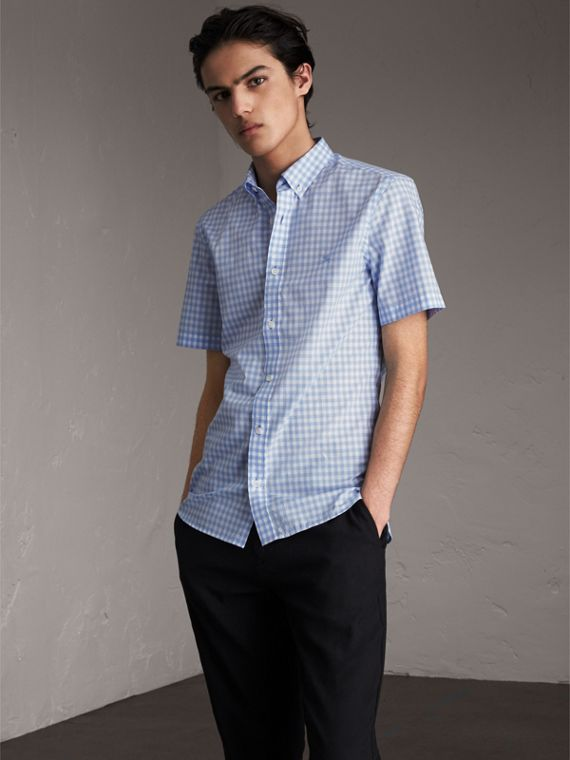 Short-sleeve Button-down Collar Cotton Gingham Shirt in Pale Blue