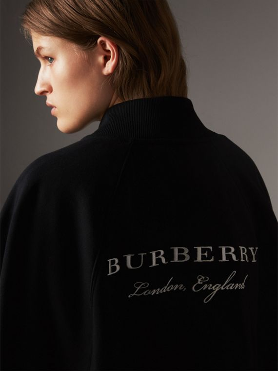 Embroidered Jersey Cape in Black - Women | Burberry Australia