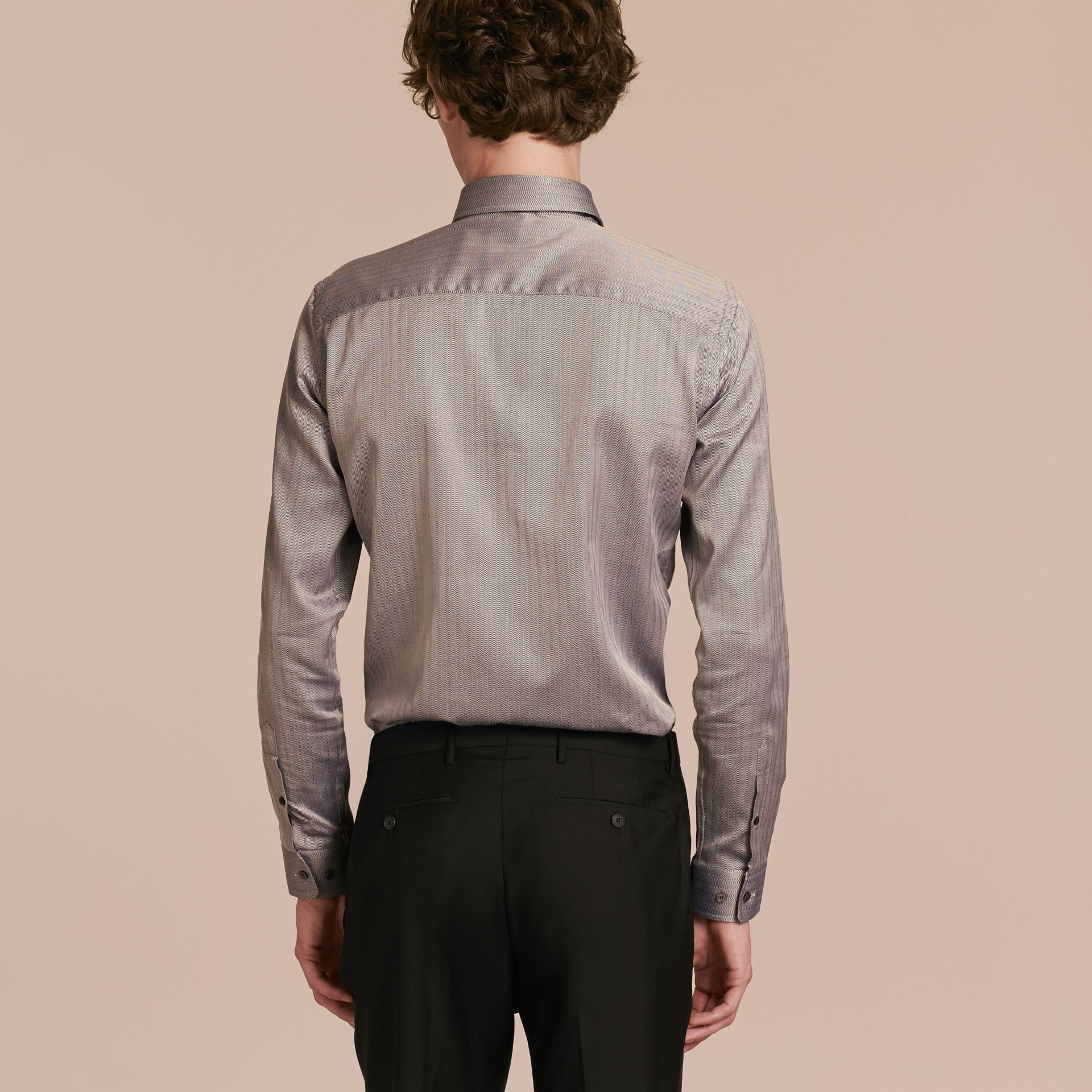 Black Slim Fit Herringbone Cotton Shirt Black - gallery image 3