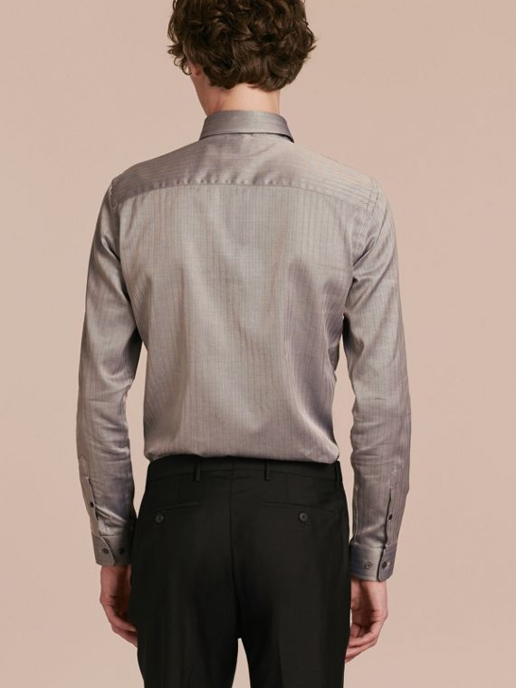 Black Slim Fit Herringbone Cotton Shirt Black - cell image 2