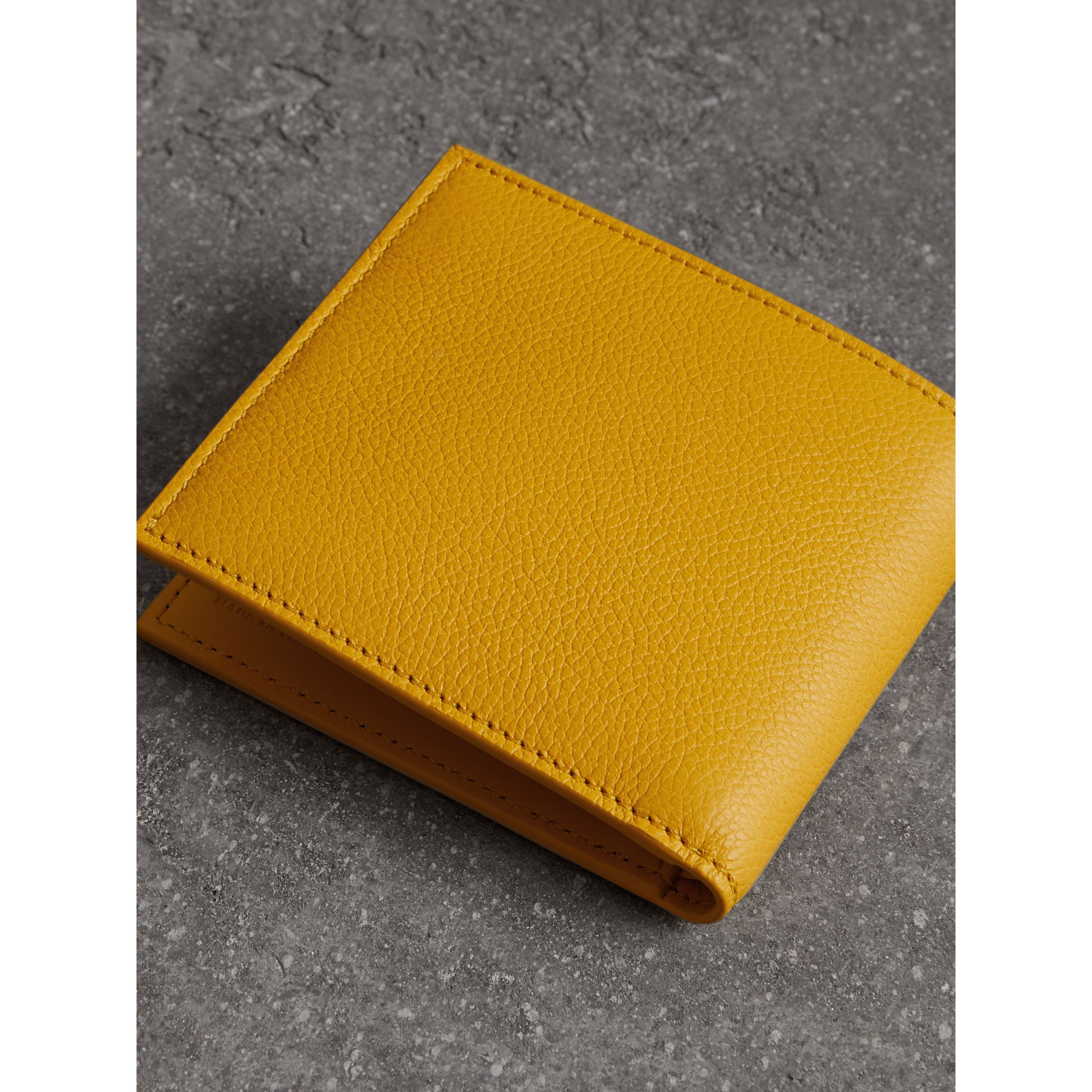Grainy Leather International Bifold Wallet in Bright Ochre Yellow - Men | Burberry Australia - gallery image 2