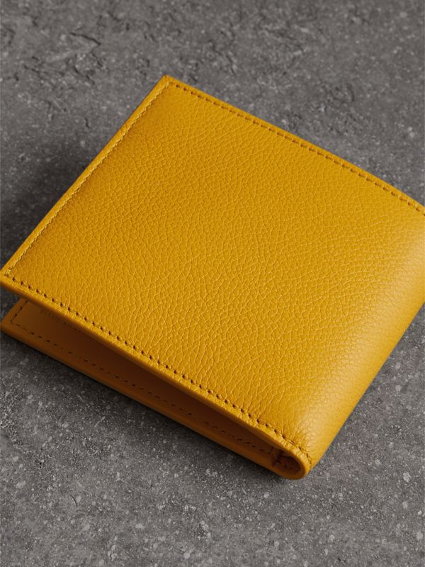 Grainy Leather International Bifold Wallet in Bright Ochre Yellow - Men | Burberry Canada - cell image 2