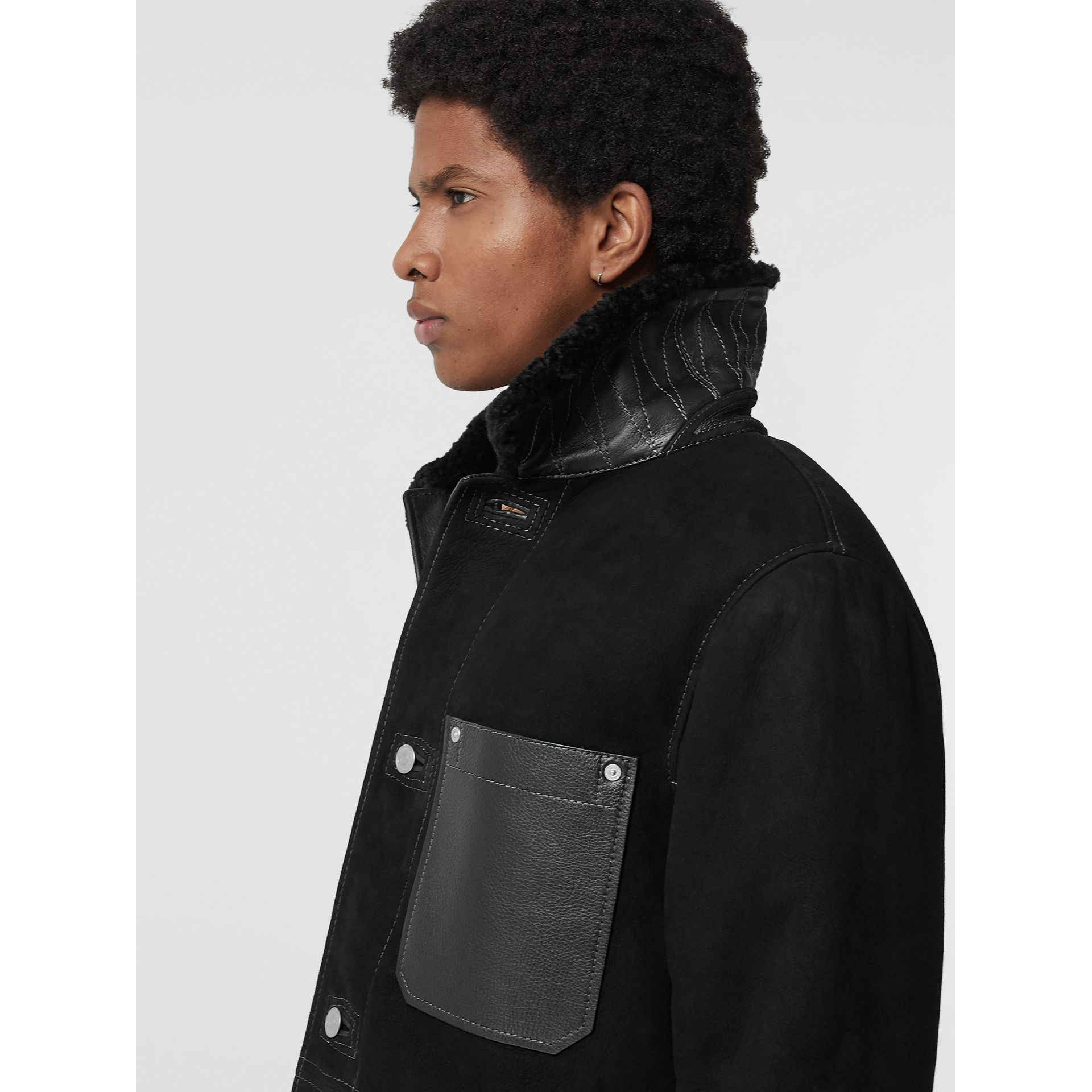 Leather Detail Shearling Workwear Jacket in Black - Men | Burberry Australia - gallery image 1