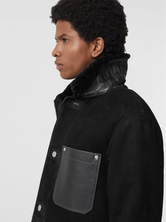 Leather Detail Shearling Workwear Jacket in Black - Men | Burberry Singapore - cell image 1