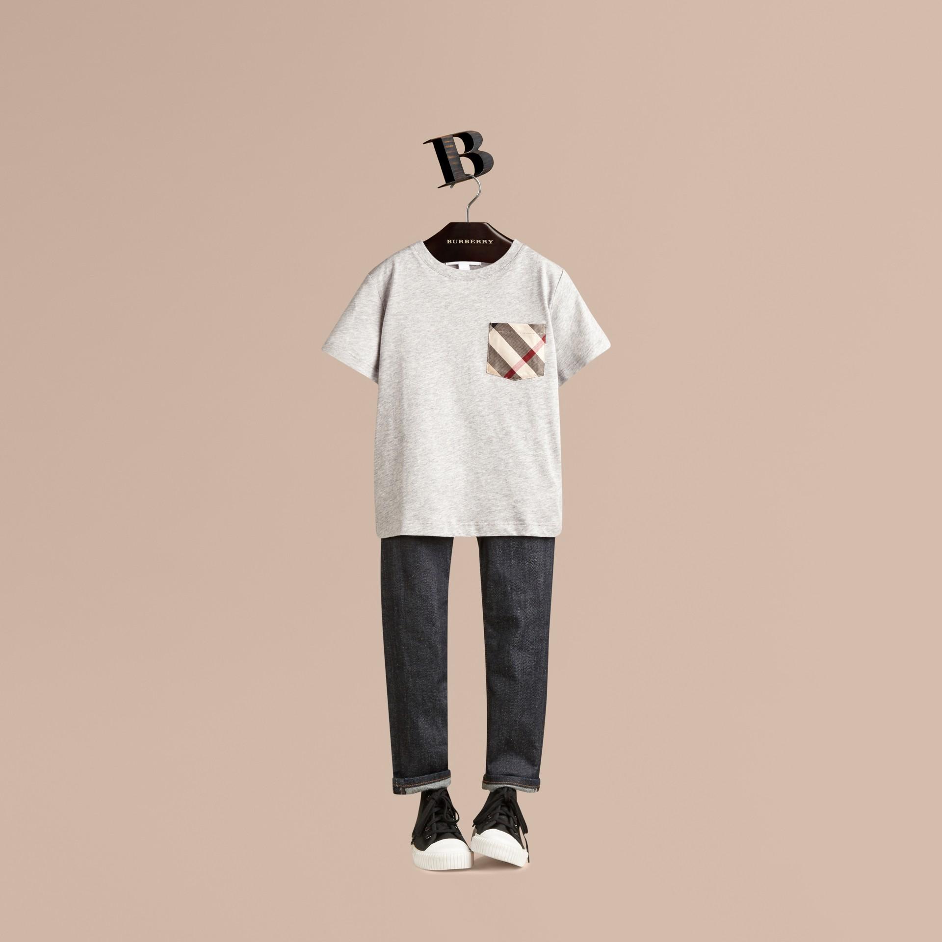 Grey melange Check Pocket T-Shirt - gallery image 1