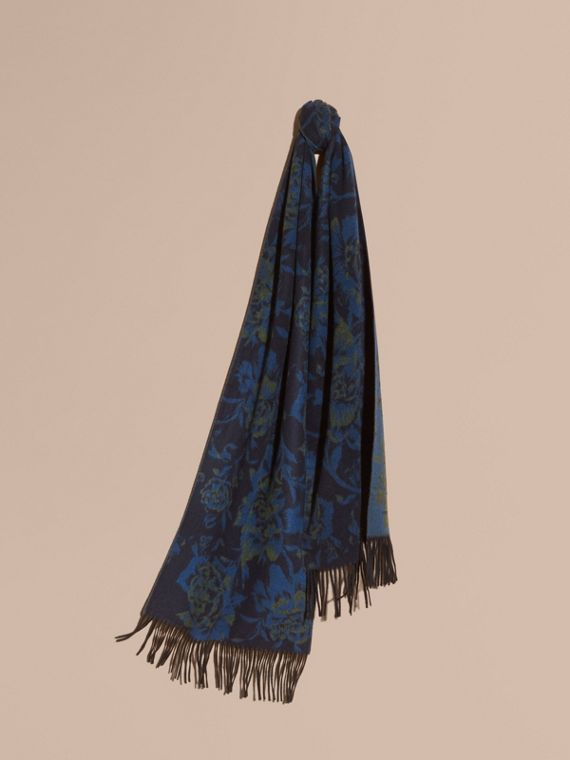 Oversize Peony Rose Jacquard Cashmere Scarf in Ink