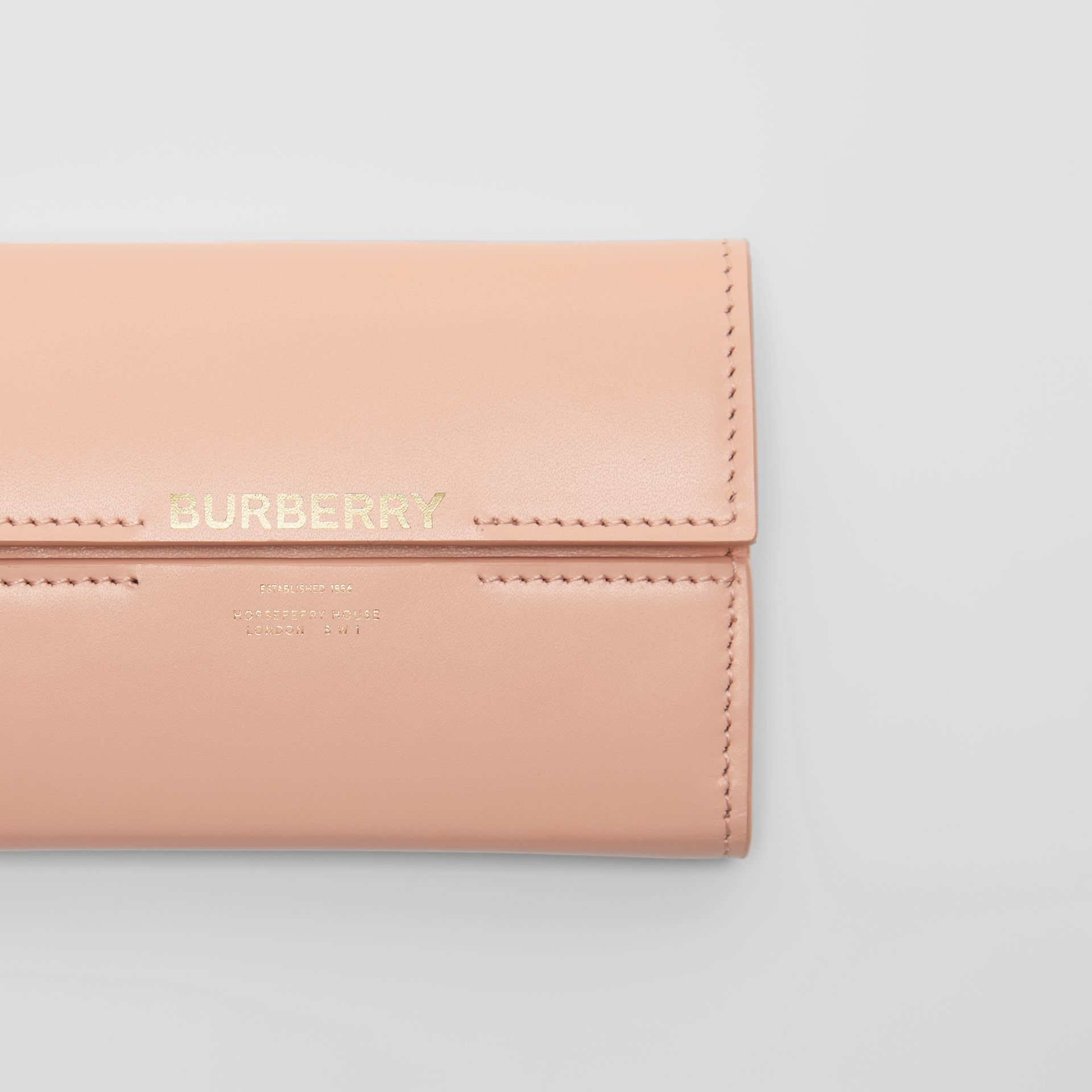 Horseferry Print Leather Folding Wallet in Blush Pink | Burberry United Kingdom - gallery image 1