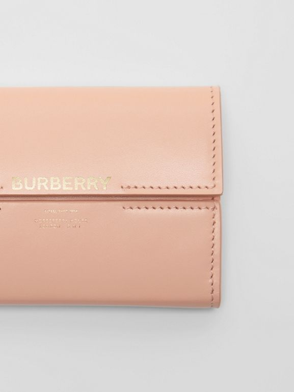 Horseferry Print Leather Folding Wallet in Blush Pink - Women | Burberry - cell image 1