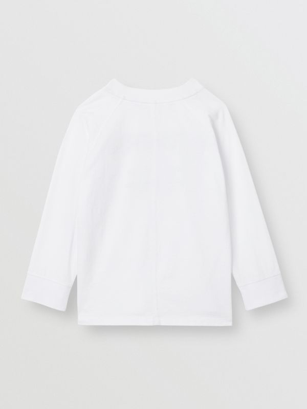 Long-sleeve Horseferry Print Cotton Top in White | Burberry United Kingdom - cell image 3